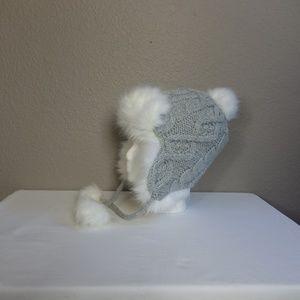 Lands' End Accessories - Lands End Woman's Gray Cable Knit Faux Fur Hat